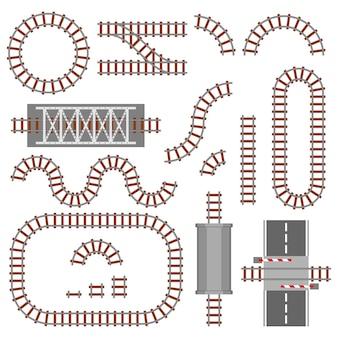 Set di parti ferroviarie, ferrovia o vista dall'alto della ferrovia. diversi elementi di costruzioni di treni.