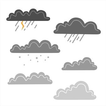 Insieme delle nuvole di pioggia isolate su fondo bianco. illustrazione vettoriale piatta
