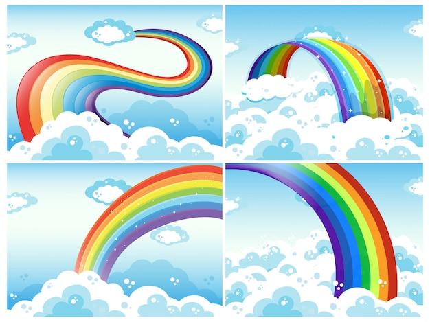 Un insieme di arcobaleno e nuvole