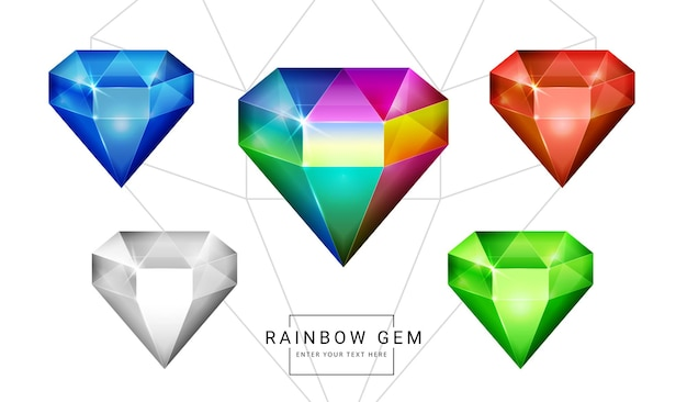 Set di gemme di gioielli fantasy color arcobaleno, pietra a forma di poligono per il gioco.
