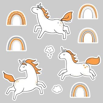 Set di adesivi unicorno arcobaleno.