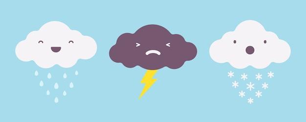 Set di nuvole temporalesche piovose, nevose e fulmini