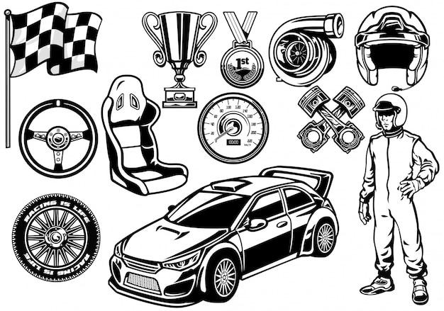 Insieme di elementi di auto da corsa rally