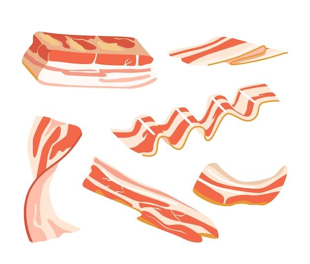 Set di strisce di pancetta cruda o affumicata, sottili fette di grasso di maiale rashers, carne cibo delizioso isolato su sfondo bianco. spuntini di petto o prosciutto, elementi di design. fumetto illustrazione vettoriale, clipart