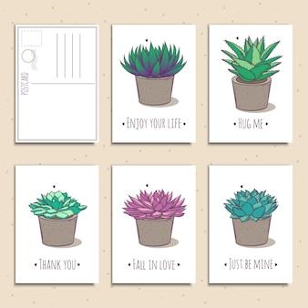 Set di cartoline regalo pronte all'uso con piante grasse