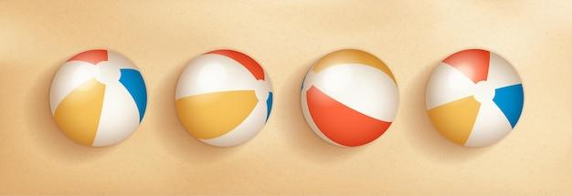 Set di pallone da spiaggia 3d realistico con colori blu giallo rosso per tema estivo
