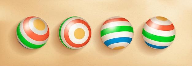 Set di pallone da spiaggia 3d realistico con colori blu verde giallo rosso per tema estivo