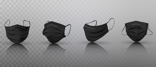 Set di maschere mediche nere realistiche 3d.