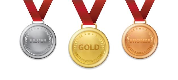Una serie di medaglia d'argento e di bronzo realistica dell'oro campione 3d con l'illustrazione del nastro rosso