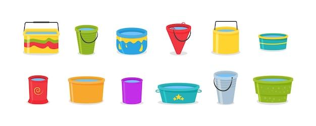 Set di secchi di plastica vuoti colorati 3d realistici con manico