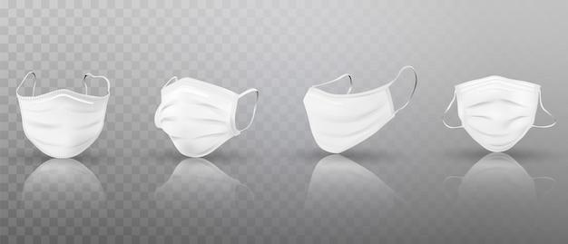 Set di maschere mediche bianche realistiche 3d.
