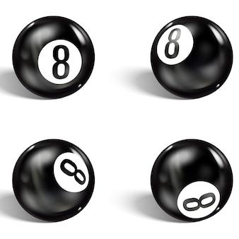 Set di 8 palline realistiche. isolato su un bianco
