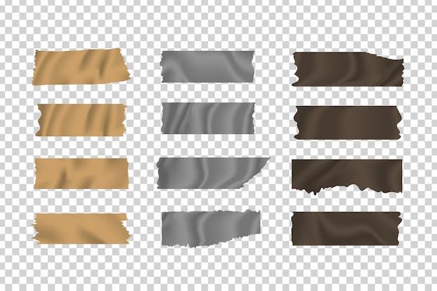Set di nastri adesivi skotch adesivi realistici sullo sfondo trasparente per la decorazione e il rivestimento.