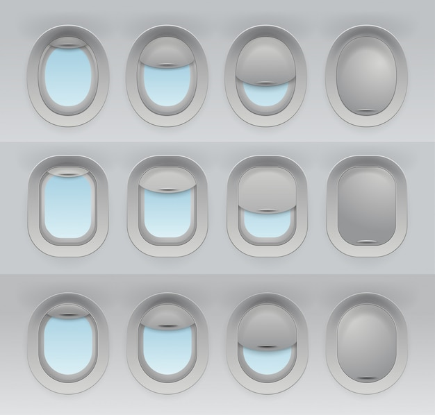 Set di finestre degli aerei realistici