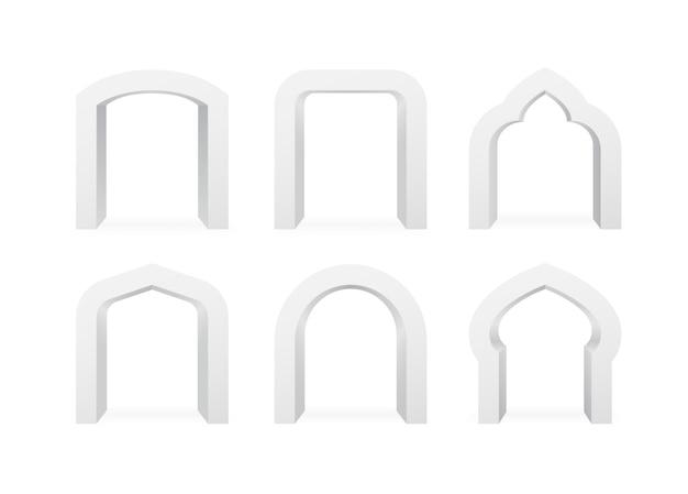 Set di archi realistici di diverse forme di illustrazione