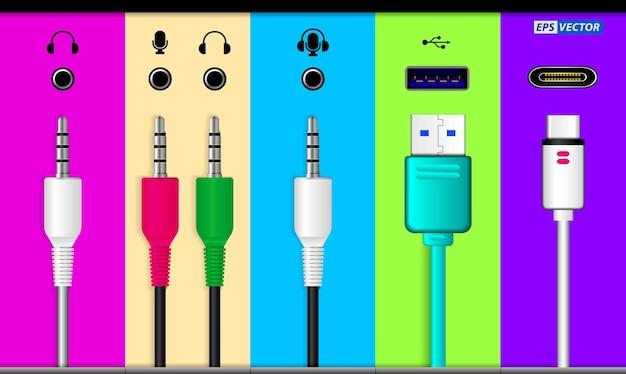 Set di connettori audio realistici isolati o vari jack audio per sistema audio o usb