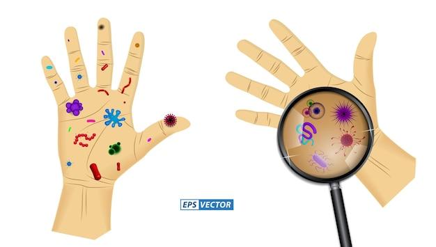 Insieme di batteri realistici o vari virus e germi microscopici o microrganismo realistico