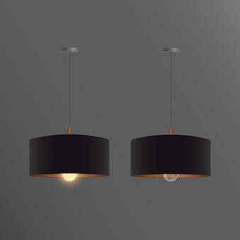 Set di lampadari neri realistici. lampada da soffitto. stile loft. elemento per l'interior design.