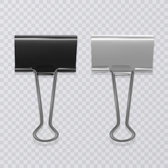 Set di clip per documenti realistici, in bianco e nero