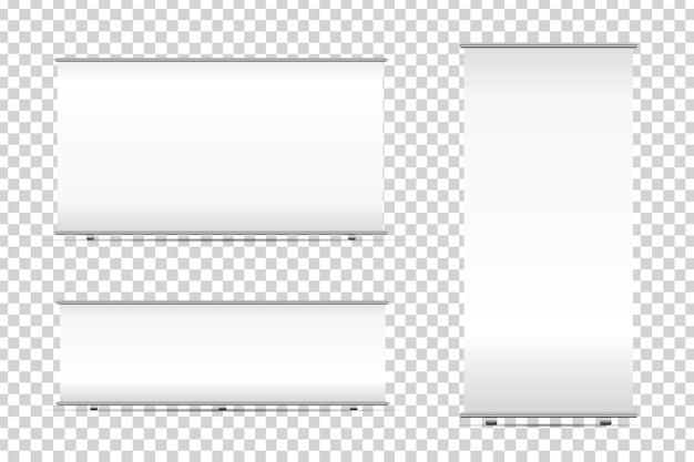 Set di banner roll-up in bianco realistici sullo sfondo trasparente per la decorazione e la pubblicità. stand bianco mock up modelli illustrazione vettoriale.