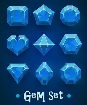 Set di gemme blu realistiche di varie forme.