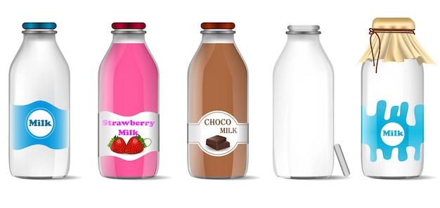 Set di latte in bottiglia realistico isolato o latte fresco in modello di mock up di vetro o vari gusti