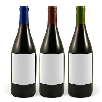 Impostare bottiglie realistiche di illustrazione di vino rosso