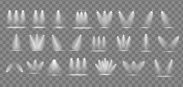 Set di proiettori luminosi realistici collezione di lampade per illuminazione con faretti effetti di luce