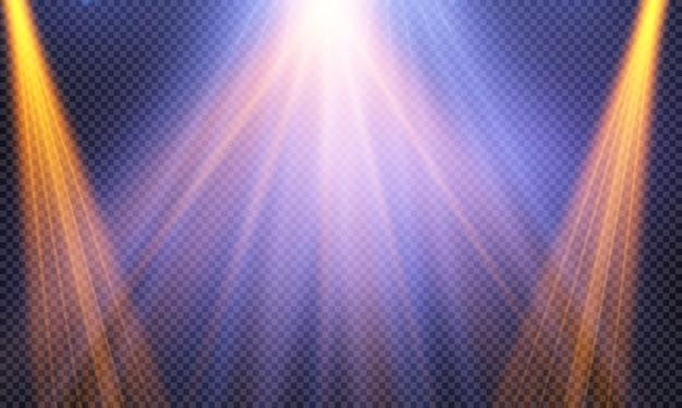 Set di proiettori luminosi realistici per illuminazione di scena isolato. collezione di effetti di luce speciali.