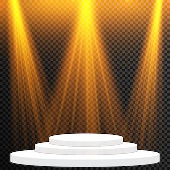 Set di proiettori luminosi realistici per l'illuminazione della scena. collezione di effetti di luce speciali.