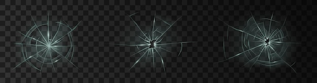 Set di vetro rotto realistico con fori. vetro danneggiato della finestra o del riquadro della porta e del parabrezza isolato su sfondo scuro. illustrazione vettoriale 3d