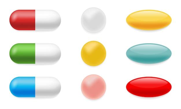 Set di illustrazioni realistiche di pillole di colore