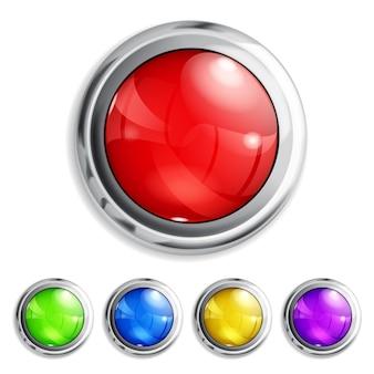 Set di bottoni colorati realistici con bordi metallici