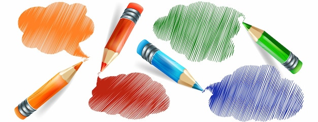 Set di matite colorate realistiche e disegno a mano con matite