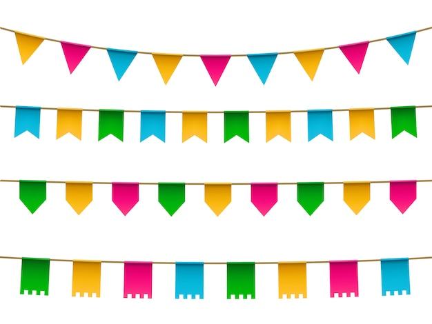 Set di bandiera colorata realistica