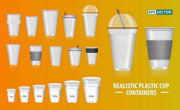 Set di contenitori per tazze colorati realistici con plastica trasparente in tazze usa e getta per il tè alla soda Vettore Premium
