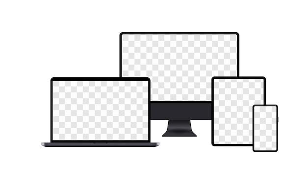Set di monitor di computer realistici, laptop, tablet e telefoni cellulari. vettore eps 10