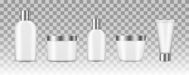 Set di bottiglie pulite bianche cosmetiche realistiche. 3d vari contenitori vuoti, tra cui vaso, bottiglia pompa, tubo crema isolato su sfondo bianco. pacchetto cosmetico realistico.