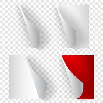 Set di angoli di carta arricciati realistici nei colori bianco e rosso con ombre