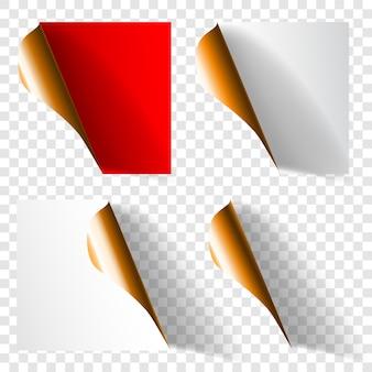 Set di angoli di carta arricciati realistici nei colori bianco, rosso e dorato con ombre