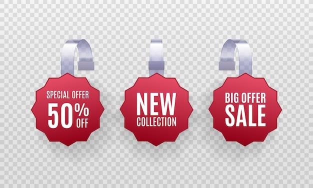 Set di etichette di vendita di promozione wobbler rosso dettagliate 3d realistiche isolate su uno sfondo trasparente. adesivo sconto, offerta speciale, banner prezzo in plastica, etichetta per il tuo design.