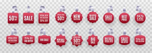 Set di etichette di vendita di promozione wobbler rosso 3d dettagliato realistico