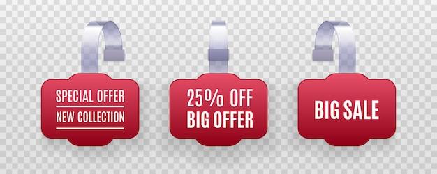 Set di etichette di vendita di promozione wobbler rosso dettagliato realistico su uno sfondo trasparente. adesivo sconto, offerta speciale, banner prezzo in plastica, etichetta per il tuo.