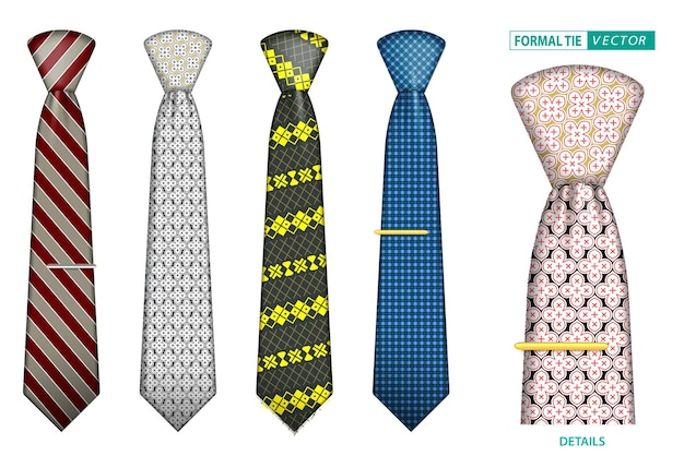 Set di cravatte da uomo eleganti realistiche o cravatte formali per uniformi da ufficio o cravatte accessorie varie