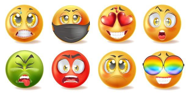 Set di icone di emoticon realistiche con facce diverse