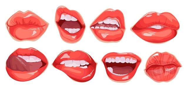 Set di labbra femminili realistiche. bocca impostata