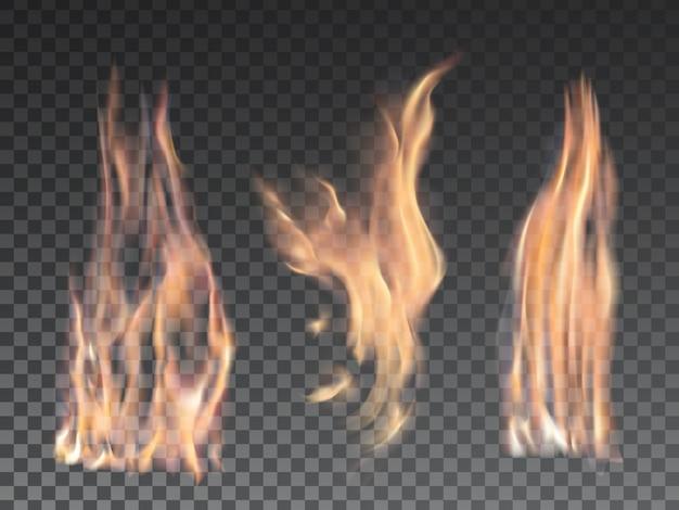 Set di fiamme di fuoco realistiche su trasparente