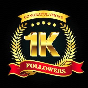Set di banner follower realistici con nastro o follower badge celebrazione sui social media eps