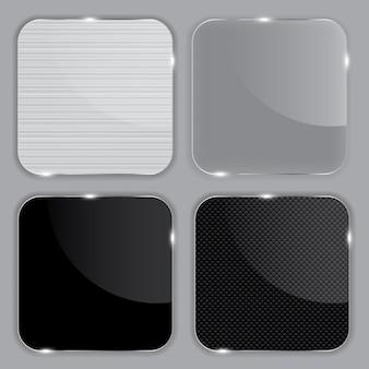 Set di cornici in vetro realistiche. illustrazione vettoriale.