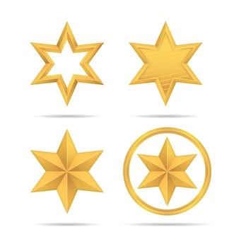 Set di realistica icona stella 3d oro